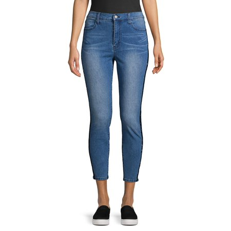 Stitched Cropped Jeans (Velvet Striped Cropped Jeans)