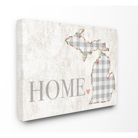Michigan Heart (The Stupell Home Decor Collection Michigan Grey Gingham and Floral Heart and Home Oversized Stretched Canvas Wall Art, 24 x 1.5 x)