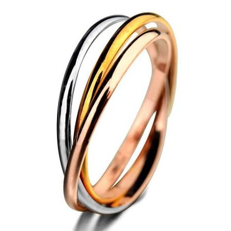 Trinity Tri Color Ring Jewelry (Trinity Tri-Color Interlocked Rolling Rings 9)