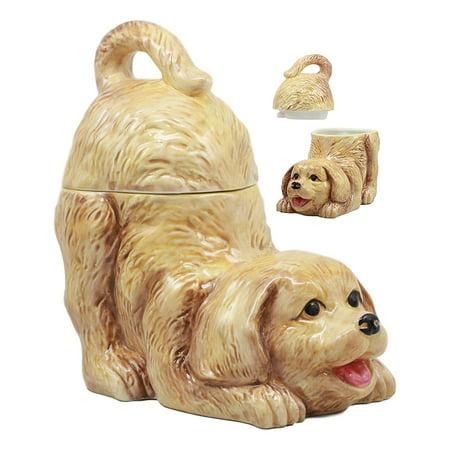 "Ebros Ceramic Playful Golden Retriever Puppy Cookie Jar 8"" Tall Decorative Kitchen Accessory Figurine"