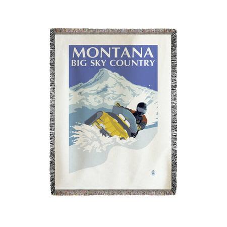 Montana Big Sky - Snowmobile Scene - Lantern Press Artwork (60x80 Woven Chenille Yarn Blanket) (Big Toy Store Scene)