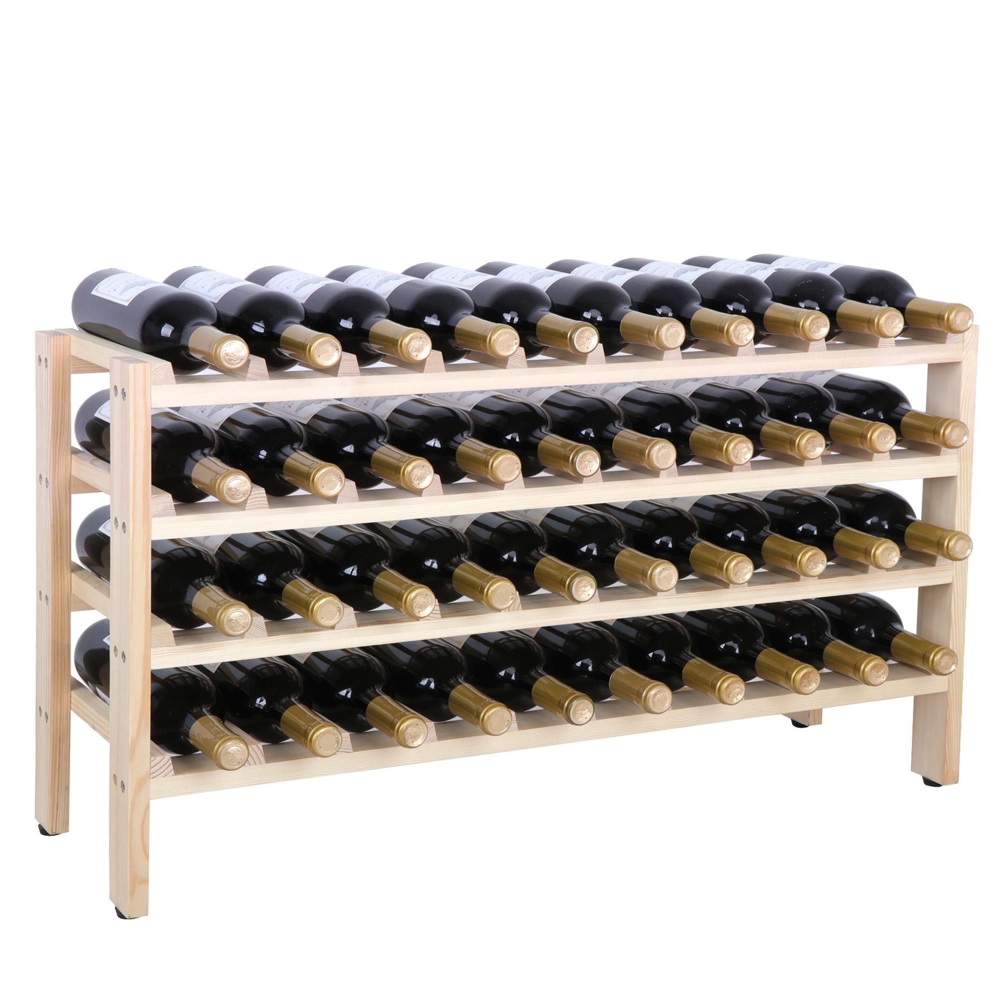 Zeny 40 Bottles Wood Wine Rack Display Shelves Kitchen Decor Natural 4 Tiers