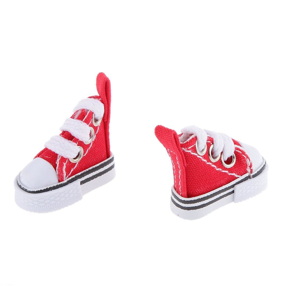 Mini Children Doll Lace-up Canvas Shoes for Doll Toy Accessories Girl Play House Gift Color:White Height: a pair - image 3 of 6