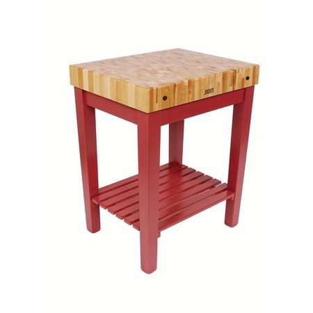 John Boos Chefs Block 30X24x4 W Shf Barn Red   Cu Cb3024s Bn