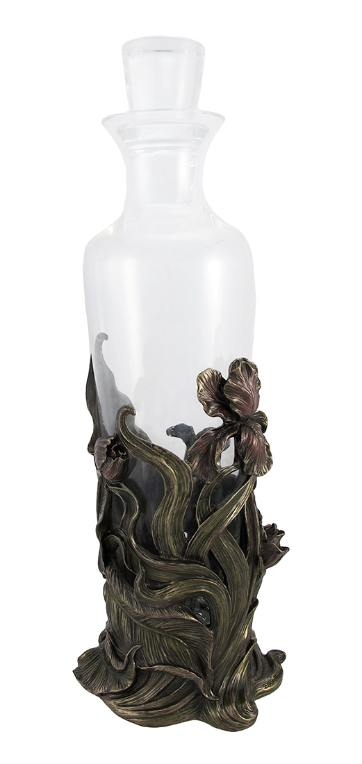 Bronzed Finish Iris Flowers Glass Wine Decanter by Unicorn Studios