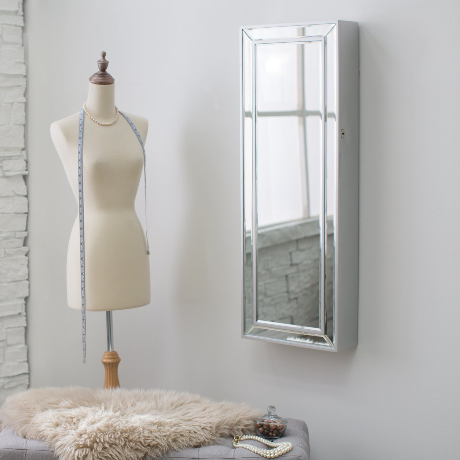 Belham Living Hollywood Mirrored Locking Wall-Mount Jewelry Armoire
