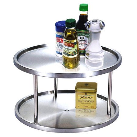 Cook N Home Lazy Susan Stainless Steel 10-1/2-Inch 2 Tier
