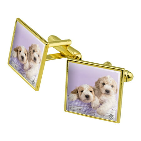 Spoodle Cockapoo Puppies Dogs Wicker Basket Square Cufflink Set - Silver or Gold ()