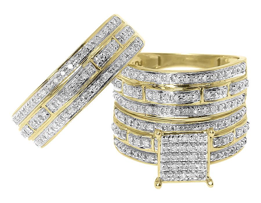 Round Diamond Scallop Designer Wedding Trio Ring Set (0.75 ct) by Jewelry Unlimited