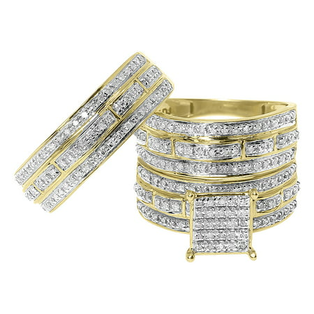 Round Diamond Scallop Designer Wedding Trio Ring Set (0.75