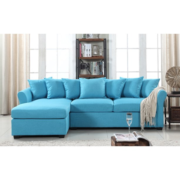 Mobilis Large Linen Fabric L-Shape Couch With Left Chaise Lounge, Sky Blue - Walmart.com - Walmart.com