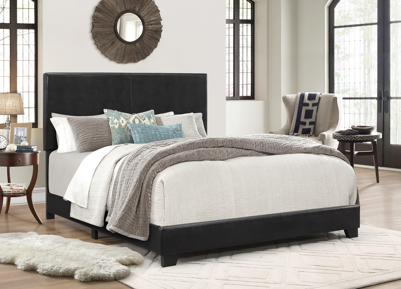 Bedroom Furniture Faux Leather Upholstered Bed Frame Full Size ...