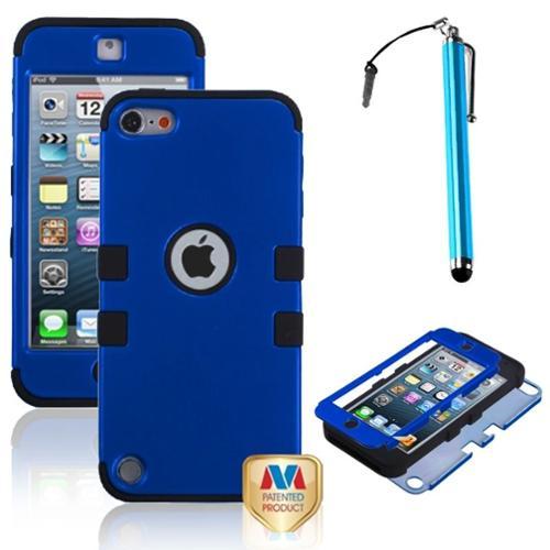Insten Pen+Impact Armor Hybrid Hard Dark Blue/Black Silicone Case For iPod Touch 5 5th 6 6th Gen