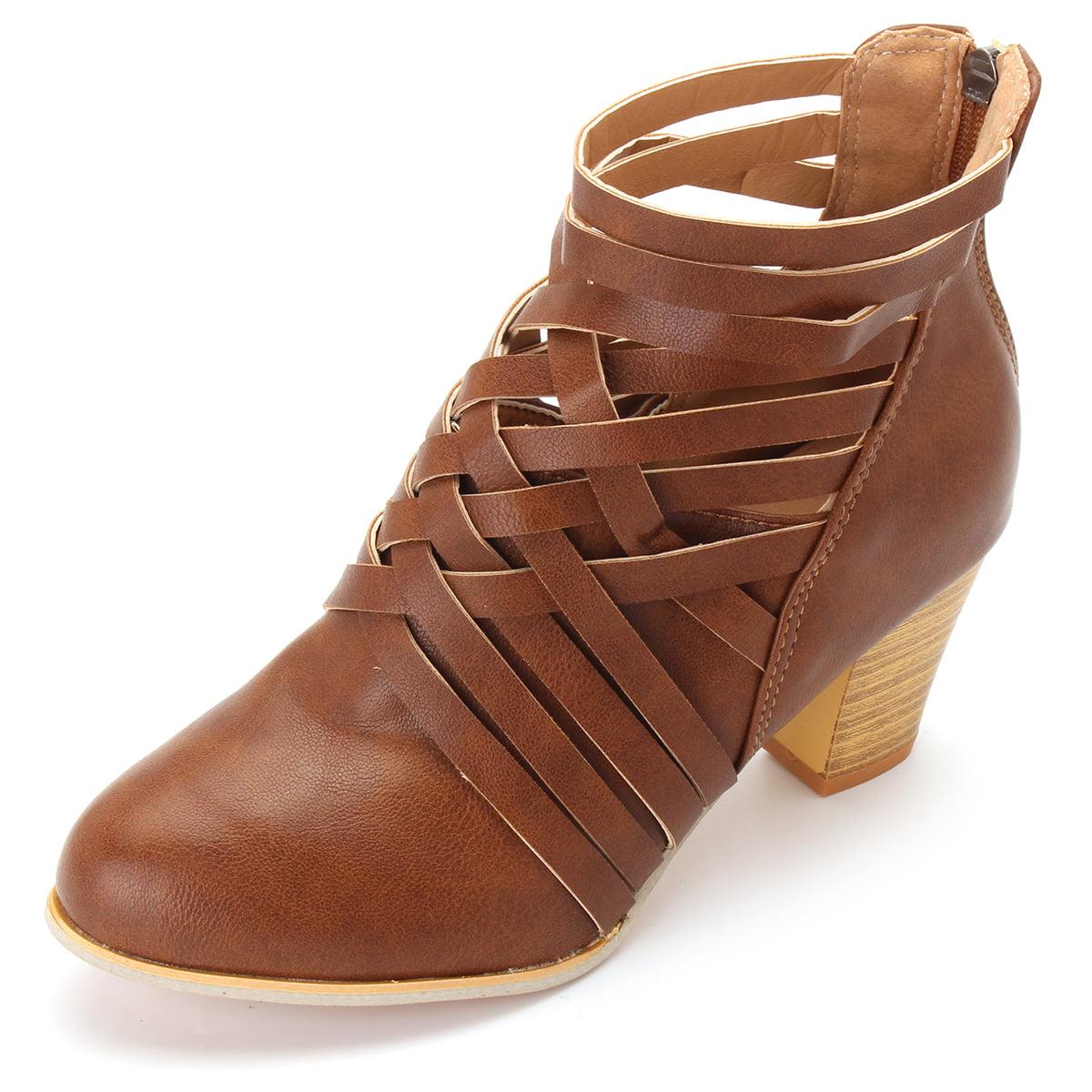 628e35da49e Meigar - Women s Ankle Boots Block Low Mid Heel Sandals - Walmart.com
