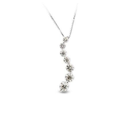 Luis Creations PRL975-075AA 0.75 Ct. Diamond 14K Gold Journey Pendant Ij-Si Quality Chain Included