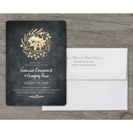 Personalized Wedding Invitation - Vintage Barn - 5 x 7 Flat Deluxe - Vintage Invitations