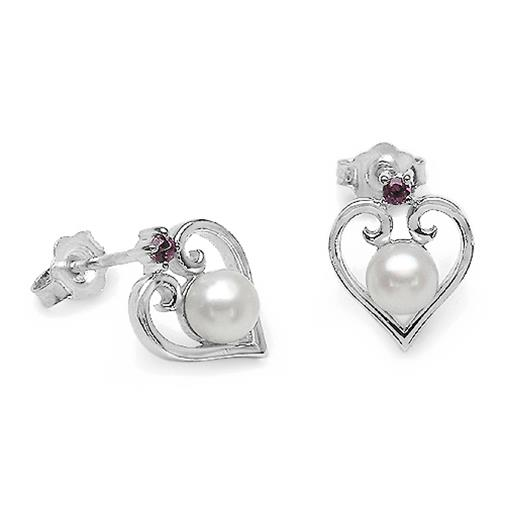 2 1/10 CTW Round Cut Rhodolite with Pearl Stud Earrings in .925 Sterling Silver (MDS150341) - image 1 of 2