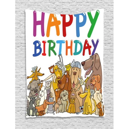 Birthday Decorations for Kids Tapestry, Cartoon Streets Dogs Cats Animals Party Themed Quote Print, Wall Hanging for Bedroom Living Room Dorm Decor, 40W X 60L Inches, Multicolor, by Ambesonne ()