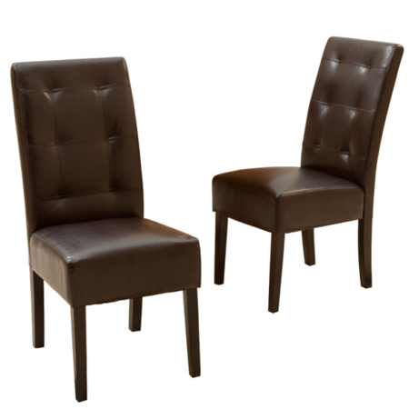 GHP 2-Pcs Home Furniture Light Tufted Brown Leather Upholstery Modern Dining Chairs ()