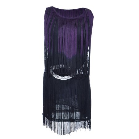 Fringe Flapper Dress (Womens 1920s Drop Waist Flapper Mini Cocktail Dress with Tassel)