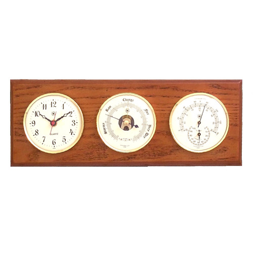 Breakwater Bay Dobbins Wall Clock with Barometer, Thermometer and Hygrometer