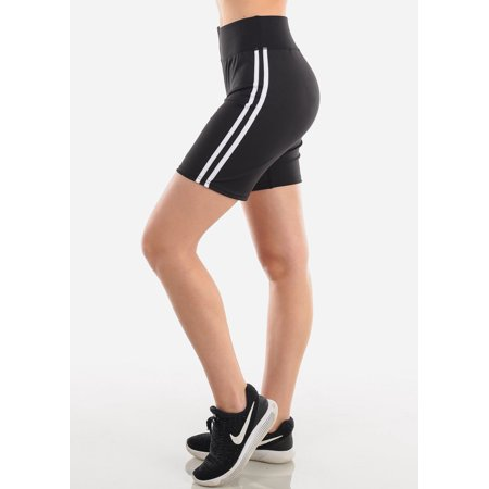 Women's Junior Ladies Activewear Gym Running Mid Thigh Spandex Black Side White Stripe Active Short Leggings Biker Shorts
