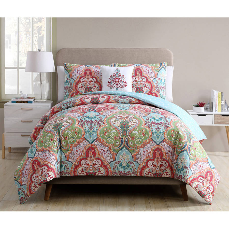 Better Homes and Gardens Jeweled Damask 4-Piece Bedding Duvet Cover Set, Decorative Pillow and Shams Included