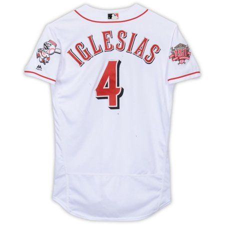 Jose Iglesias Cincinnati Reds Game-Used #4 White Jersey with 150 Patch During Games Played on May 18th and 27th and July 4th During the 2019 MLB Season - Size 42 - Fanatics Authentic Certified Game Official Mlb Baseball Jersey