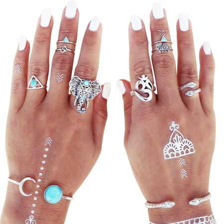 Women Vintage Retro Snake Elephant Kylin Finger Joint Knuckle Nail Rings Set of 8pcs