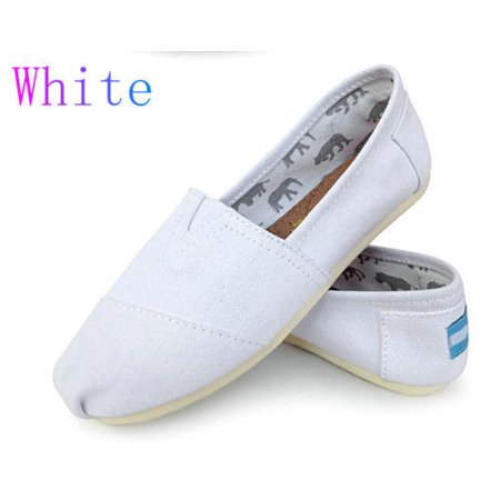 New Women Girls Shoes TOM Slip-on Casual Flats Solid Canvas Leisure Loafer Shoes](Girl Flats Shoes)