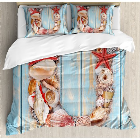 Letter U Queen Size Duvet Cover Set, Underwater Wildlife Coastal Design of U Alphabet Words Language, Decorative 3 Piece Bedding Set with 2 Pillow Shams, Pale Blue Ivory Dark Coral, by Ambesonne ()