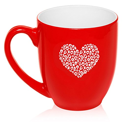 16 oz Large Bistro Mug Ceramic Coffee Tea Glass Cup Leopard Print Love Heart (Red)