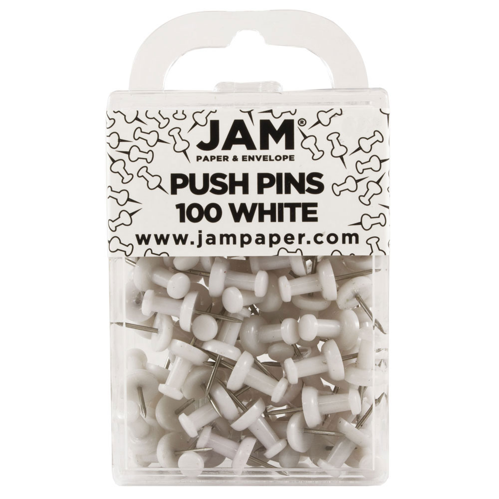 JAM Paper Push Pins - White PushPins - 200/Pack
