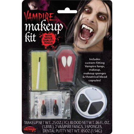 Fun World Vampire Fang Costume 5pc Makeup Kit, One Size, White Black Brown