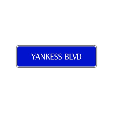 Yankees Boulevard New York Aluminum Metal Novelty Street Sign Road Wall Décor 4x13.5