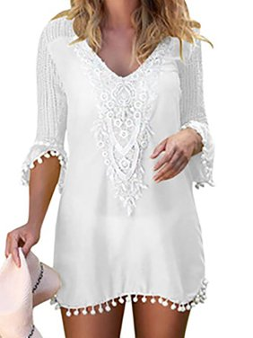 2a0d186124 Product Image Women's Crochet Chiffon Tassel Bikini Cover Up Beach Summer  Dress