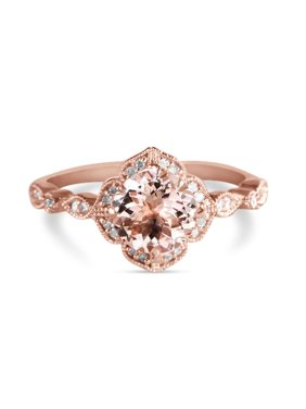 Antique 1.25 Carat Round Cut Peach Pink Morganite and Diamond Engagement Ring in 10k Rose Gold