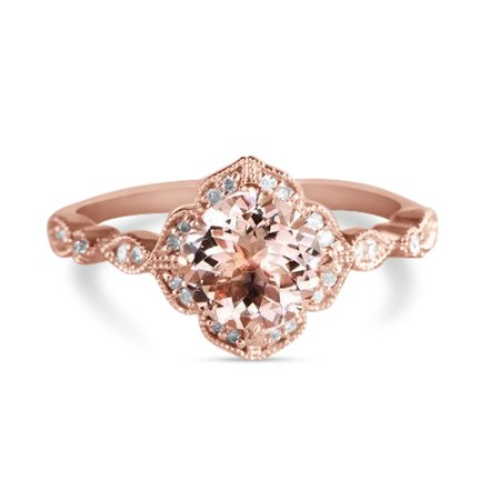 Antique 1.25 Carat Round Cut Peach Pink Morganite and Diamond Engagement Ring in 10k Rose Gold ()