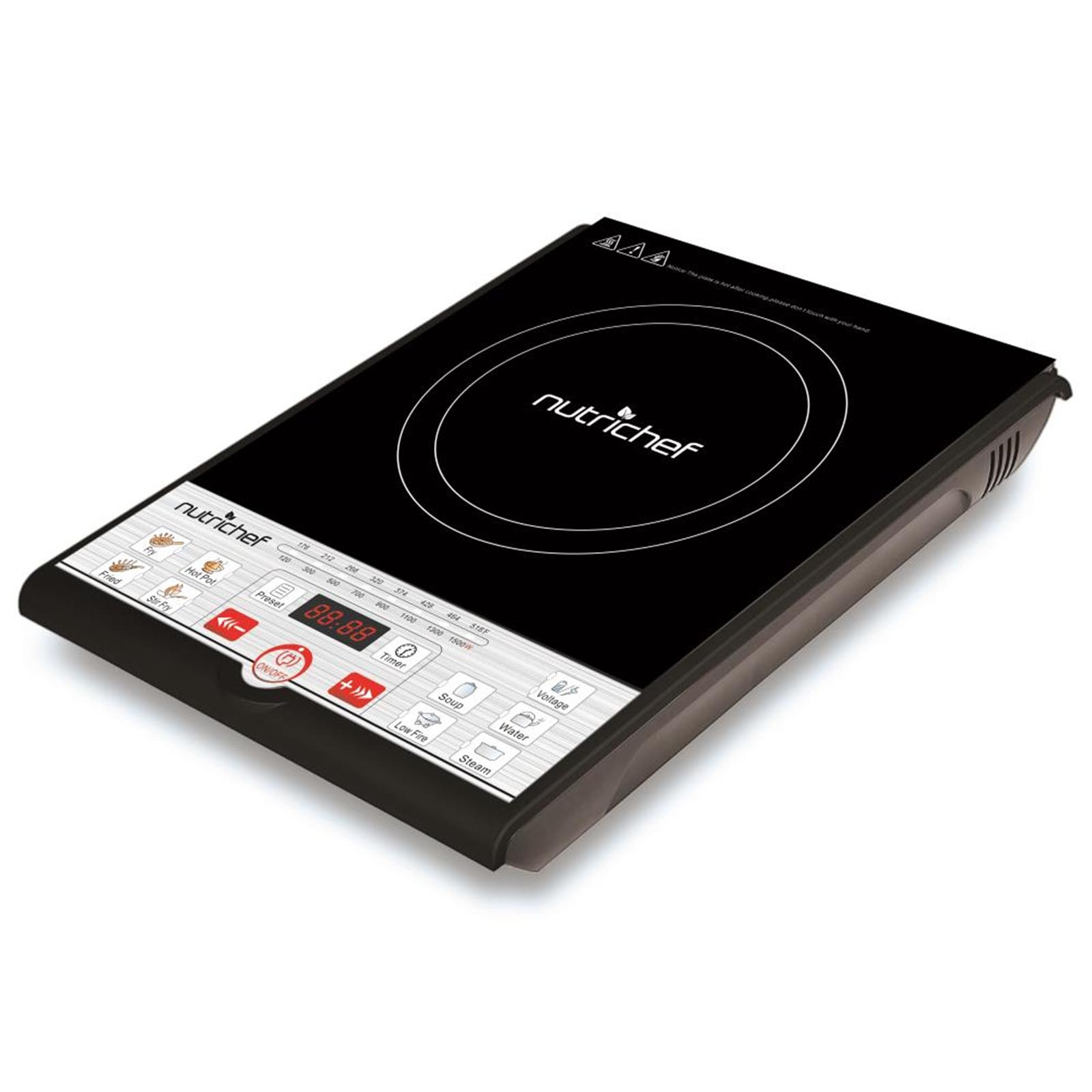 Nutrichef Single Burner Countertop Induction Cooktop with Adjustable Temp Control