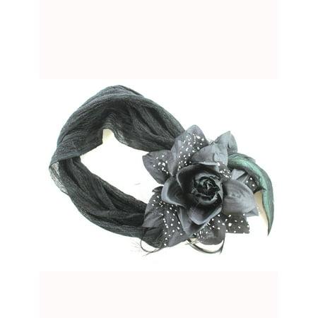 Rose Bud w/ Feathers Headband  Flower Headband (Black)