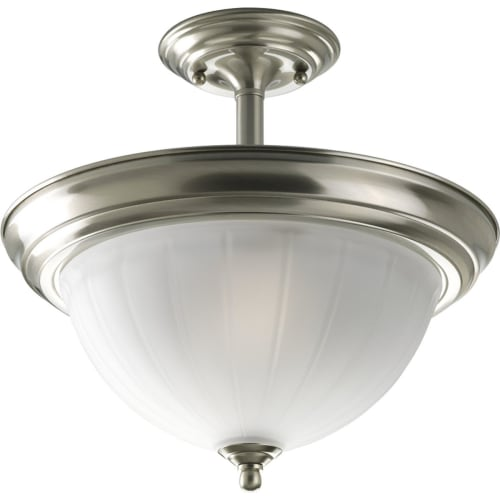 "Progress Lighting P3876 Melon Glass Series 13-1/4"" Two-Light Semi-Flush Mount Ceiling Fixture with Etched Glass Shade"
