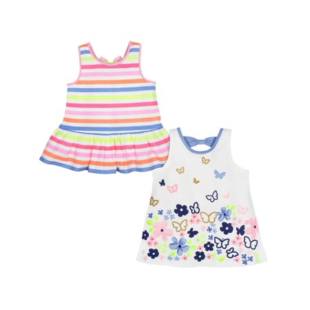 Baby Doll Tunic Tank - Striped & Butterfly Print Tunics, 2-pack (Baby Girls & Toddler Girls)
