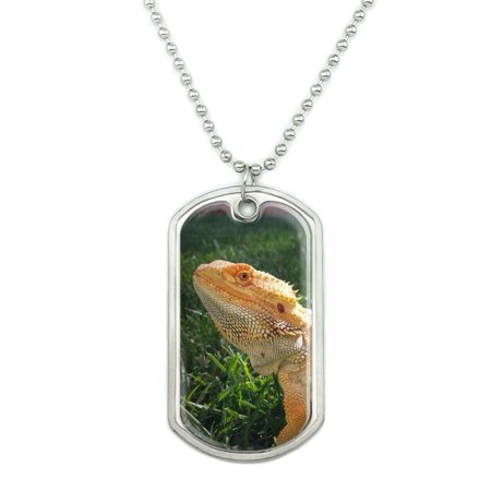 Bearded Dragon in Profile Military Dog Tag Pendant Necklace with Chain Dragon Bone Chair