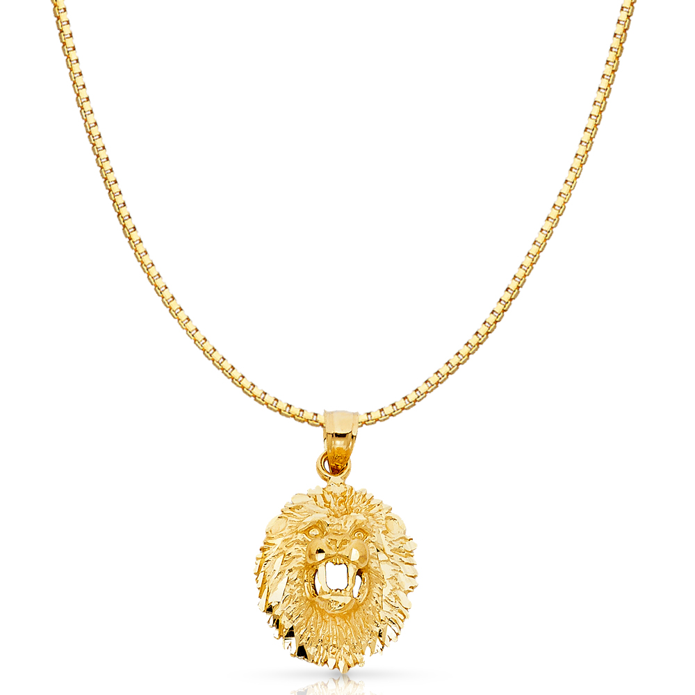 Ioka 14K Yellow Gold Lion Charm Pendant For Necklace or Chain