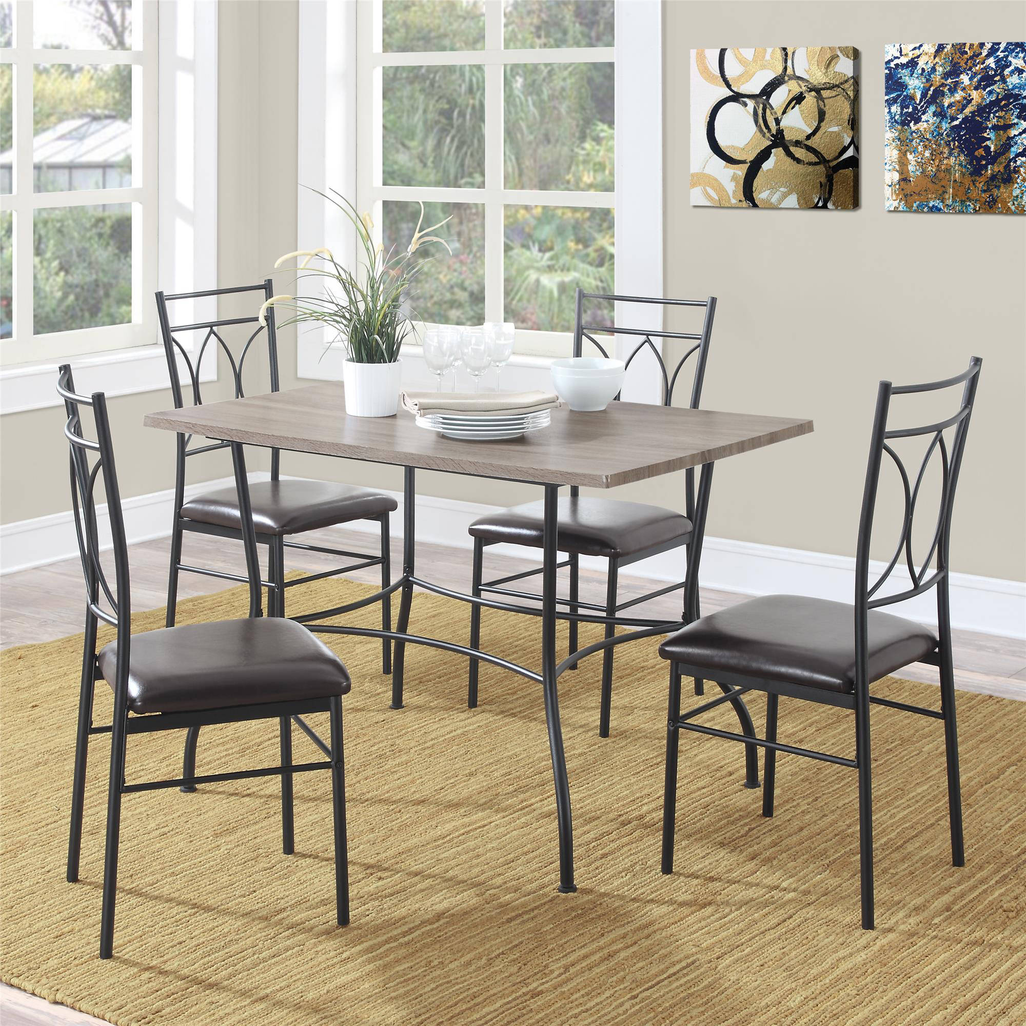 Charming Dorel Living Shelby 5 Piece Rustic Wood And Metal Dining Set   Walmart.com