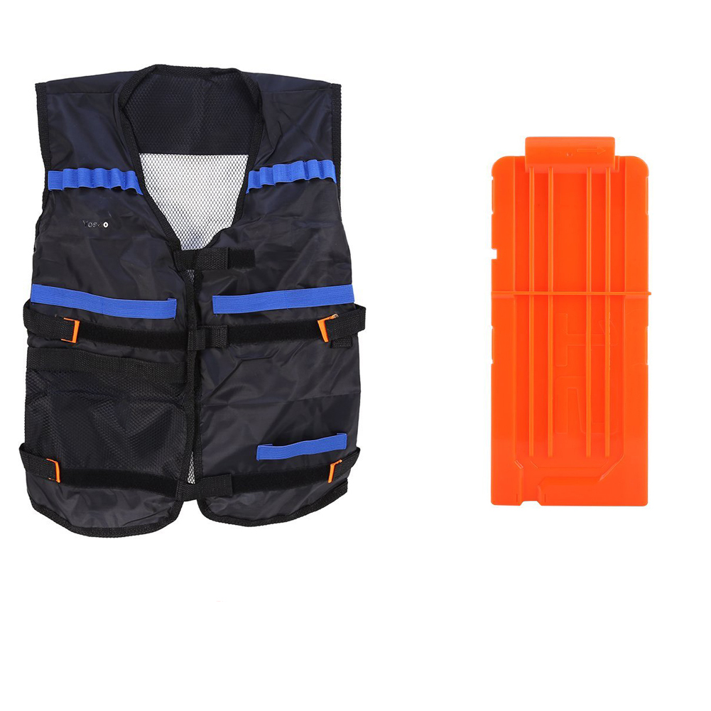TMISHION Elite Tactical Vest with Adjustable Storage Pocket(Black) + Plastic 12 Round Darts Quick Reload Clip for Nerf... by