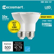 EcoSmart 50-Watt Equivalent PAR20 Dimmable Energy Star LED Light Bulb Bright White (2-Pack)