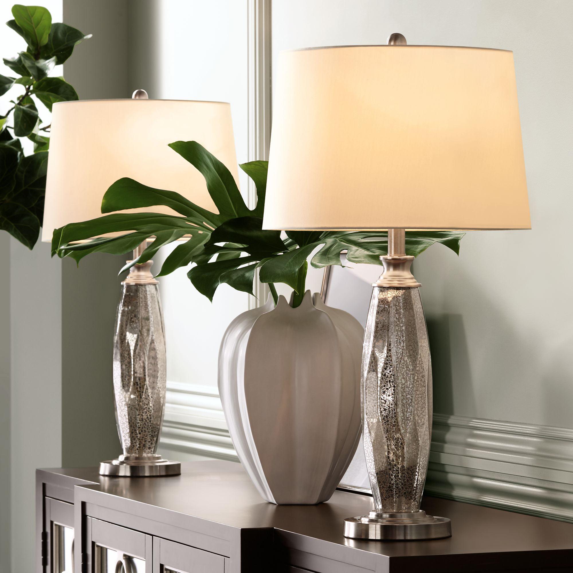 360 Lighting Modern Table Lamps Set Of 2 Mercury Glass Column White