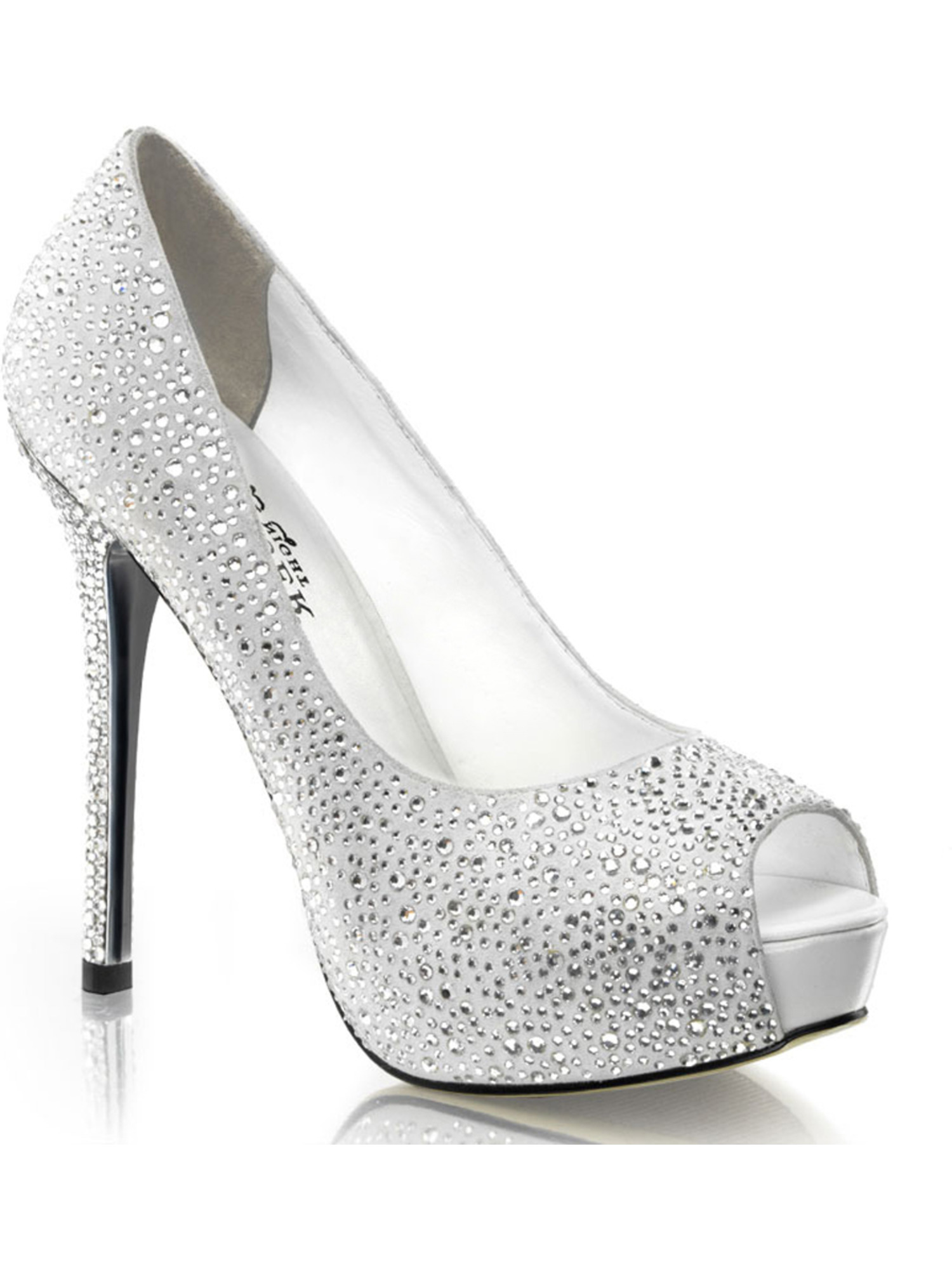5 Inch Rhinestone Peep Toe Pumps Black Silver Women's Sexy High Heel Shoes