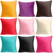 Solid Color Decorative Throw Pillow Case Cushion Cover 18x18 inch Square Zipper Waist Pillowcase Pillow Protector Slip Cases Sham for Home Bedroom Couch Sofa Bed Patio Chair